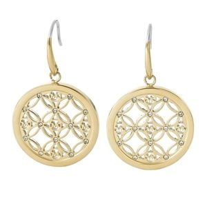 Michael Kors Open Monogram Pave Disc Drop Earrings